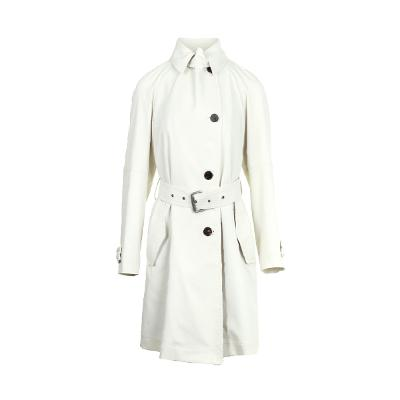 belted collar trench coat white
